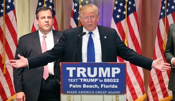 Donald Trump and Chris Christie at Mar-a-Lago, March 1, 2016.