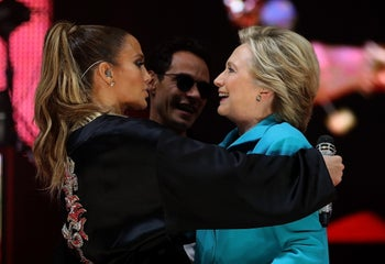 Clinton and Jennifer Lopez during a 'Get Out The Vote' concert, October 29, 2016 in Miami, Florida.