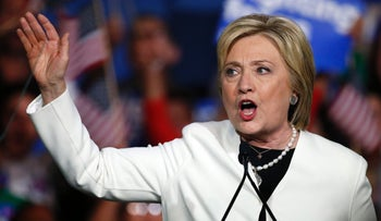 Democratic presidential candidate Hillary Clinton addresses her supporters at a rally during a campaign event on Super Tuesday in Miami on March 1, 2016.