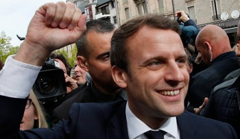 French presidential candidate Emmanuel Macron on the campaign trail in southern France, May 7, 2017.