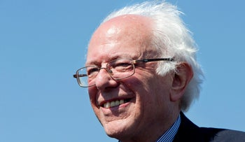 Bernie Sanders smiles during a campaign rally at in Austin, Texas, Feb. 27, 2016.