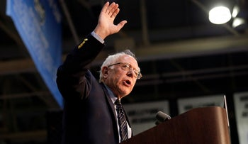 Democratic presidential candidate, Sen. Bernie Sanders, I-Vt., speaks during a rally at Grand Valley State University Field House Arena, Friday, March 4, 2016, in Allendale, Mich.