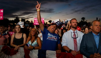 Donald Trump supporters during a rally in Pensacola, FL, November 2, 2016.