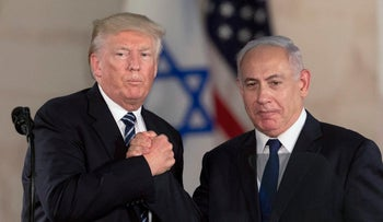 U.S. President Donald Trump and Israeli Prime Minister Benjamin Netanyahu shake hands at the Israel museum in Jerusalem, May 23, 2017.