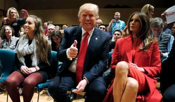 Donald and Melania Trump at a caucus in West Des Moines, Iowa, Feb. 1, 2016.