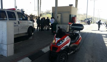 The scene of an attempted stabbing attack, Masmuria checkpoint in southeastern Jerusalem.