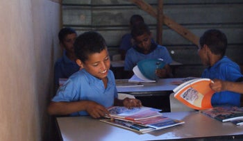 Bedouin schoolchildren study in makeshift school in Negev