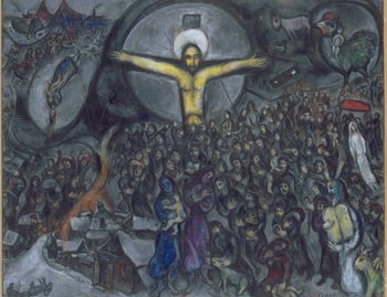 Detail of Marc Chagall's 'Exodus,' in which Jesus leads the Jews from slavery.