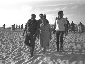 Prime Minister Golda Meir with Ariel Sharon visiting the Southern Command in Sinai during the 1973 Yom Kippur War.