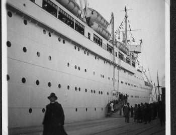 Palestine Nazis wait to boarding a ship to vote in referendum on the Anschluss of Austria