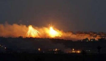 Explosions seen over Gaza during Israel's Operation Cast Lead on January 9, 2009.