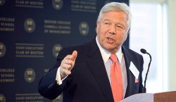 Robert Kraft speaks during a luncheon with the CEO of Viacom in Boston, Massachusetts, March 25, 2010.