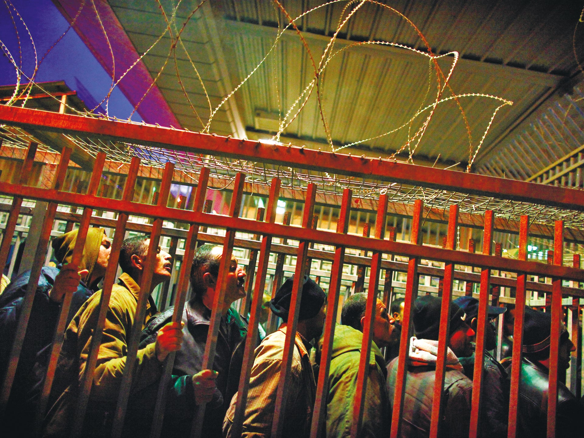 Palestinians at the Qalandiyah checkpoint in 2012.