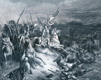 The victory of Judah Maccabee over the Seleucids, as envisioned by Paul Gustave Doré in this 19th Century engraving.