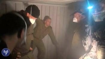 A still from video footage taken by the IDF during a raid.