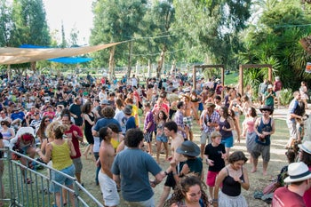 Attendees dance at the Jacob's Ladder Festival, held May 2-4, 2013.