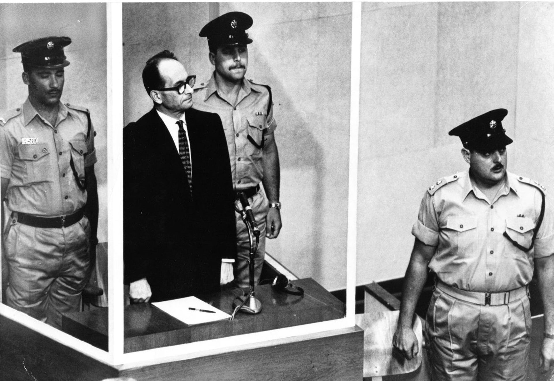 Adolf Eichmann being brought to justice in Israel in 1961