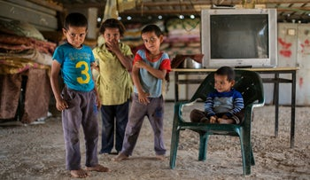 Bedouin children from one of 23 communities east of Jerusalem being pressured to resettle in a new town, Talet Nueima, to allow for the expansion of several Jewish settlements. Sept 2014