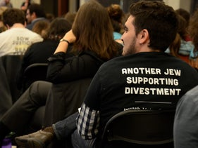 A pro-BDS student attending the first Open Hillel conference in Harvard, Oct., 2014. Illustrative.