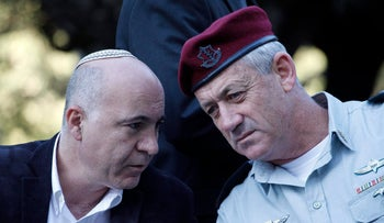File photo: Then-IDF Chief of Staff Benny Gantz (R) and Shin Bet head Yoram Cohen at a memorial service for slain Prime Minister Yitzhak Rabin, November 2011.