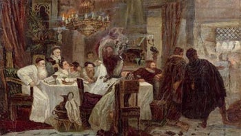 Marranos: Secret Seder in Spain during the times of inquisition, an 1892 painting by Moshe Maimon.