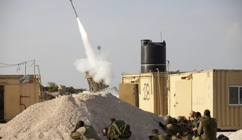 Soldiers operating Iron Dome system, Ashdod, November 2012.