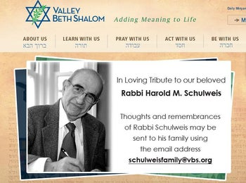 Rabbi Harold Schulweis, from Valley Beth Shalom's website