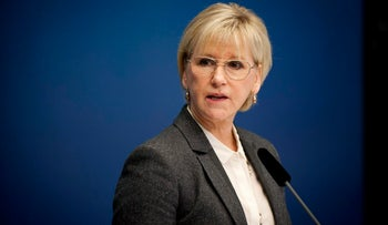 Sweden's Foreign Minister Margot Wallstrom, who remarks on terror drew condemnationa from Israel, attends a news conference at the Rosenbad government building in Stockholm, Oct. 30, 2014.