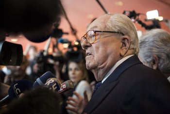 French far-right Front National former leader Jean Marie Le Pen speaks with journalists during the 15th congress of the party, France, Nov. 29, 2014.
