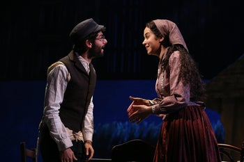 """Adam Kantor and Alexandra Silber on stage together in the new revival of """"Fiddler on the Roof."""""""