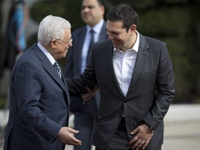 Greece's Prime Minister Alexis Tsipras meets with Palestinian President Mahmoud Abbas, Ramallah, West Bank, November 26, 2015.