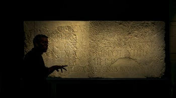 "The two parts of a stone inscription related to Hadrian, brought together at the Israel Museum exhibition for the first time. It reads: ""To the Imperator Caesar Traianus Hadrianus Augustus, son of the deified Traianus Parthicus, grandson of the deified Nerva, high priest, invested with tribunician power for the 14th time, consul for the third time, father of the country (dedicated by) the 10th legion Fretensis Antoniniana."""