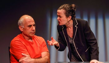 The terrorist Hassan (Mihran Shlougian) and Yael (Dagmar Stansova) in 'Land of Fire,' which had its North American debut on Sunday at the Theater for a New City in Manhattan's East Village,