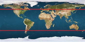 A map of the world marking the range of the sand fly, from 50 degrees North to 40 degrees South.