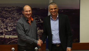 Finance Minister Moshe Kahlon and Histadrut secretary-general Avi Nissenkorn, December 2015.