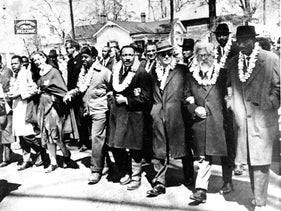 Martin Luther King Jr. in the front line of the third march from Selma to Montgomery, Alabama. Second from right is Rabbi Joshua Heschel, March 21, 1965