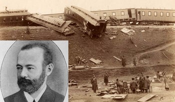 Photo of Samuel 'Railroad king' Polyakov (1837-1888) on backdrop of the train derailment, czar on board, in 1888. Alexander III survived but 21 others died.