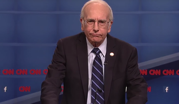 "Screenshot of comedian Larry David impersonating Bernie Sanders on ""Saturday Night Live,"" October 17, 2015."