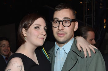 """Lena Dunham and boyfriend Jack Antonoff, guitarist for the band Fun!, attending the """"Girls"""" season 4 series premiere after party at The Museum of Natural History, New York City, U.S., January 5, 2015."""