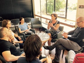Efrat Chen (center right) teaching one of the Oolpan classes.