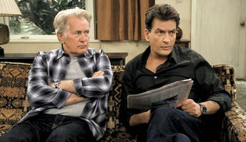 Martin Sheen (left) and son Charlie in 'Anger Management.'