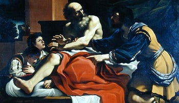A painting by Guercino, depicting Jacob, Ephraim, and Manasseh, pre 1966.