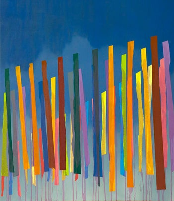 "A colorful work featuring vertical lines against a blue backdrop, at the ""Modernism"" exhibition at Rosenbach Contemporary gallery."