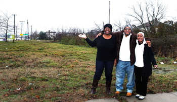 Pastor Kenneth Applewhite (center) at the future site of the church in New Jersey.