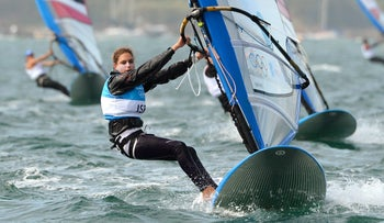 Israel's Lee-El Korsiz competes in the women's RS-X sailing class during the medal race at the London 2012 Olympic Games. August 7, 2012.