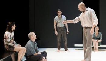 """Michael Zegen (center) during a performance of """"A View From the Bridge,"""" currently on Broadway at the Lyceum Theater in New York."""