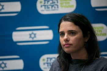 Justice Minister Ayelet Shaked at a meeting of her Bayit Hayehudi party. Her demand that leftist NGOs need to wear special badges in the Knesset is a first indication of what is to come