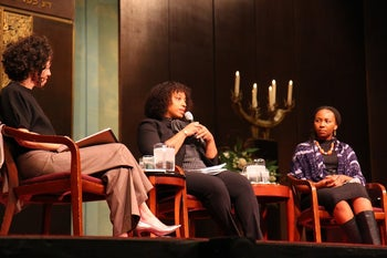 From left to right, Bend the Arc's executive director Stosh Cotler, Ayecha founder Yavilah McCoy and Black Lives Matter founder Opal Tometi speak at a Bend the Arc event.