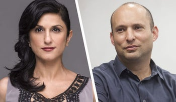 "Dorit Rabinyan, author of the novel ""Borderlife,"" and Education Minister Naftali Bennett, who banned it from Israeli public schools. ."