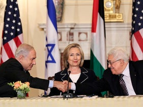 Clinton, Abbas and Netanyahu at re-launch of direct negotiations, 2010.